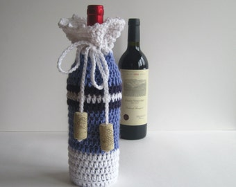 Crochet Wine Bottle Cover Cozy Gift Wrap - Purple, Grape and White with Cork Tassels