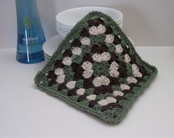 Crochet Dish Cloth Cotton Granny Square - Sage Green, Brown and Natural Off White Dishcloth
