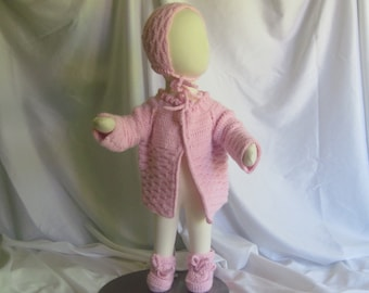 Baby Sweater, Booties and Hat Gift Set - 3 Months - In Baby Pink