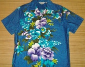 Mens Vintage 60s Reef Tropical Floral Batik Hawaiian Aloha Shirt - M - The Hana Shirt Co