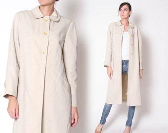 Vintage 70s Cream Tan Overcoat / Long Coat / Jacket