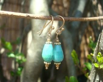 chrysoprase drops earrings