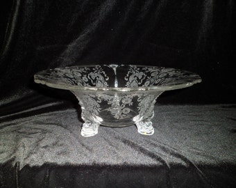 Price reduced. Vintage Heisey Glass Compote , Rosalie , etched glass ,  #497 ,  Footed Dish or Bowl