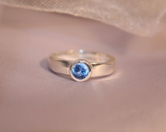 Fine Silver Aquamarine CZ Ring, Handmade, Hand formed, Hand polished Rustic Eco Friendly Ring