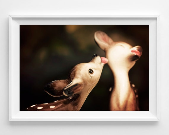 "Kissing Deer Photograph Unframed / fawn kiss love forest / brown pink black / whimsical bambi / nursery photography print /  ""Twitterpatted"""