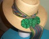 Vintage Wide Brim panama Style Straw Hat Colorful Ribbon
