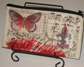 Butterfly and Feather Canvas Pouch 8in x 4in
