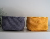 Set of 2 Square Basket in Yellow and Dark Gray