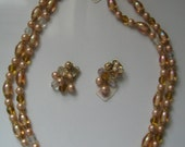 VINTAGE KRAMER NECKLACE and Earrings Bead Set with Original Tags