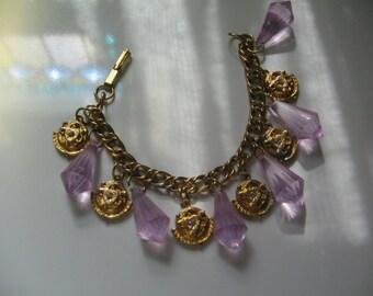 VINTAGE PURPLE LUCITE Rhinestones, Chunky Charm Bracelet, 1960's Retro Roman Style
