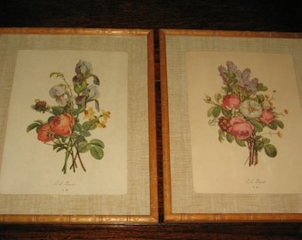 VINTAGE FLORAL PRINTS Pair of Framed Prints, Flower Bouquets