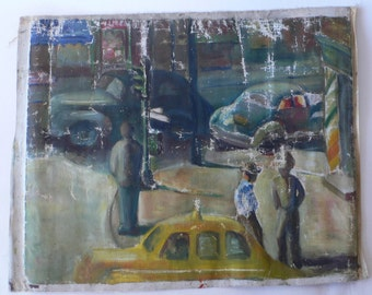 vintage painting street landscape, taxi, street corner unstretched aged from Diz has Neat Stuff