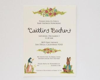 Custom Beatrix Potter Inspired Baby Shower Invitation Digital Download