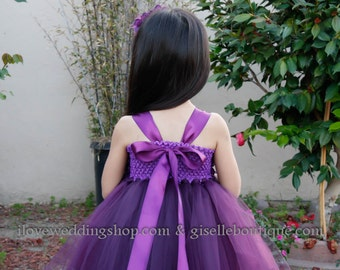 Eggplant tutu dress. Flower girl dress. Plum flower girls dress.Plum dress.Clothing. Girl tutu dress. Girls clothing.Wedding. Birthday.