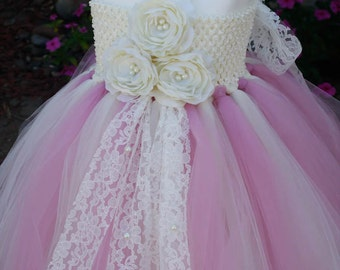 Flower Girl Dress. Dusty Rose Mix With Ivory TuTu Dress.Dusty tutu dress.Wedding.Clothing.baby tutu dress, toddler tutu dress, wedding,
