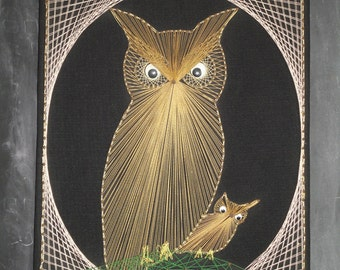 Vintage Large Retro 70's Mother and Baby Owl String Art Wall Hanging-Three Dimensional-String and Nail Art-Metallic Gold Silver Thread