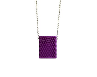 3d printed necklace- Matchbox Pendant in Purple - modern, geometric jewelry, personalized jewelry