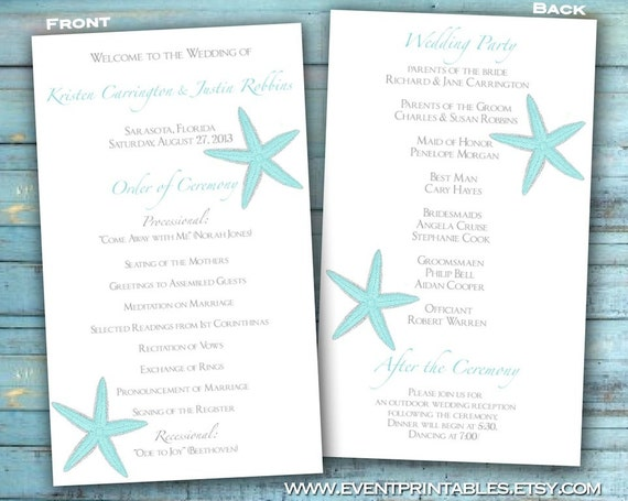 Starfish Wedding Program Beach Wedding Order Of By