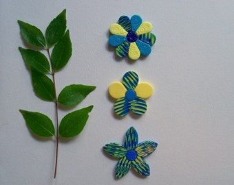 Polymer Clay Refrigerator Magnets, blue and yellow flowers , floral kitchen decor, set of 3
