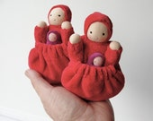 Pocket doll natural fiber waldorf red mother baby tooth fairy