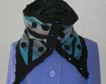 Needle Felted Cowl Scarf Neck Warmer Artisan Glass Buttons Black Teal Gray Merino Wool Roving Needle Felted on to Wool Felt