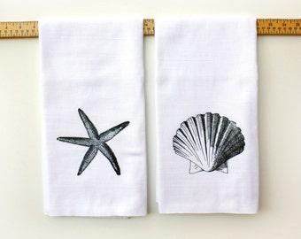 Beach Decor Kitchen Towels - Sea Shell or Starfish- Kitchen Flour Sack TeaTowel- Cotton Towel -Home Decor