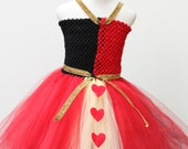 Queen of Hearts Dress-designer halloween costume - , Queen of hearts Costume,  Red Black Dress - alice in wonderland - red black queen