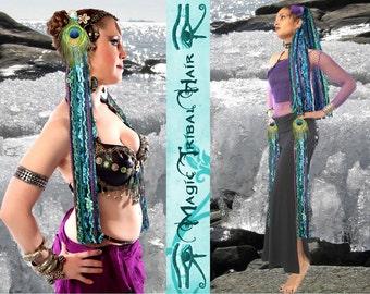 NORTHERN LIGHTS Bellydance Yarn Fall TASSELS for Tribal Fusion belt & hip scarf Fantasy mermaid hair piece Larp costume hair accessory