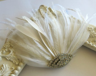 Bridal Hairpiece, Bridal Fascinator, Ivory Feather Fascinator, Head Piece, Wedding Hair Accessories, Wedding Hair Piece Art Deco Fascinator
