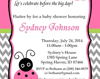 Lady Bug Baby Shower Invitations Pink with Gray Chevron Stripe Customizable Printable