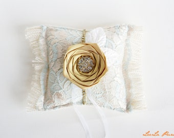 Gold & blue Lace Burlap Ring Bearer Pillow, Great Gatsby inspired, Vintage Glamour wedding, French country, somthing blue