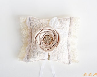 Neutral &Pink Lace Burlap Ring Bearer Pillow, Great Gatsby inspired, Vintage Glamour wedding, French country, Neutral wedding