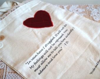 Jane Austen Inspired Cotton Tote Bag. Pride and Prejudice Novel