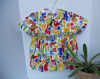 Size 3 Smocked Boy Bubble On A Fun Print  With Animals