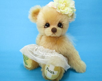 OOAK golden mohair dressed angel artist bear, Faith by YuYu Bear
