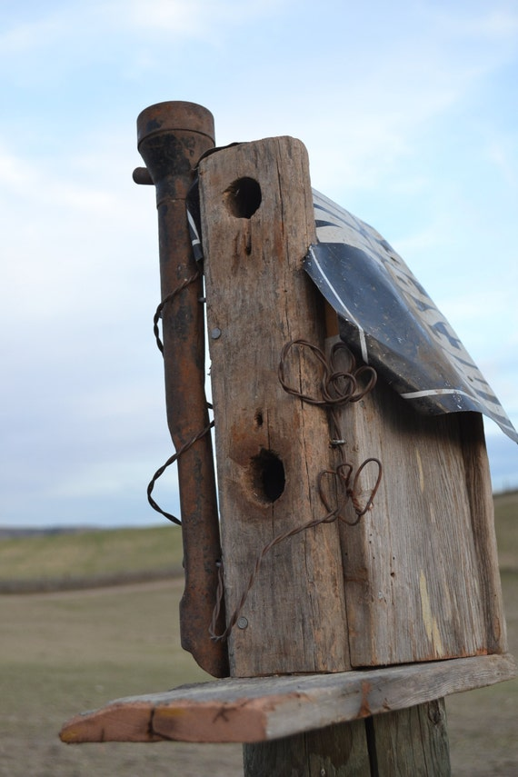 Barn wood bird house with metal no trespassing sign roof and - Old barn wood bird houses ...