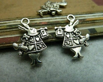 30pcs 14x20mm The Rabbit Silver White Color Charm For Jewelry Pendant C6747