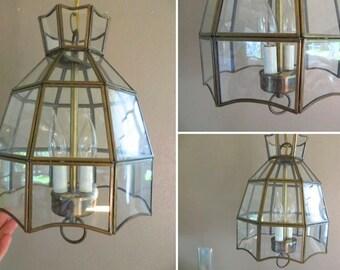 Light Fixture Mid Century Light Fixture Hanging Light Fixture Hanging Lamp Chandelier Glass and Brass Light Fixture Lighting Modern Light