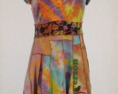 "Dragonfly Tie-Dyed"" No Boundaries"" top cotton/spandex, short sleeves, size XL (15/17), Upcycled festival wear, Woman's Knit Dress"