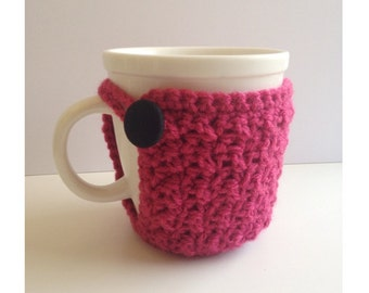Raspberry Textured Mug Cozy with Vintage Fabric Button-Ready To Ship!