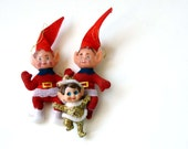 Kitsch Elf trio, lil dancing elves for your tree