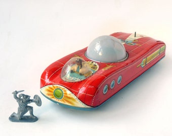 Rocket car,Space Age Car, metal toy car, tin litho Lunar Landing vehicle by E Flim Lemez , Atomic Era Toy car, display only