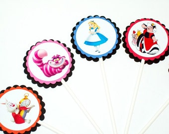 Alice in Wonderland Cupcake Toppers/ Birthday Party/ Party Supplies/ Cake Toppers/ Childs Birthday