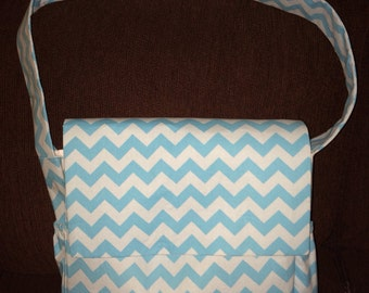 Gorgeous Messenger Diaper Bag in Blue Tonal Chevron