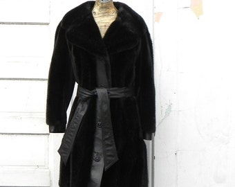 vintage Tissavel fake fur and leather coat. French. dark brown.
