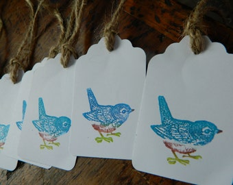 Blue bird gift tags- Hand stamped - Set of 6 - Wedding favors, parties, nature themed packaging