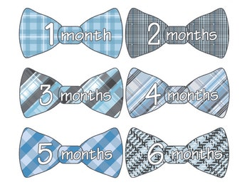Blue Plaid Monthly Bow Tie Stickers, Bodysuit Stickers, Baby Monthly Stickers, Photo Prop Sticker, Baby Shower Gift, Baby Gift (166)