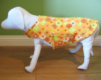 Extra Small Dog Coat & Jacket, Orange, Yellow, Red Orange, and Ivory Circle Print Fleece with Orange Fleece Lining