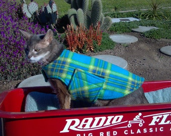 Fleece Dog Coat, Extra Small, Blue, Aqua, Lime, Yellow, and Blue Plaid with Green Fleece Lining