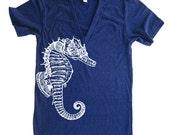 Nautical Seahorse Deep V Neck T Shirt - American Apparel - XS S M L XL (Color Options)